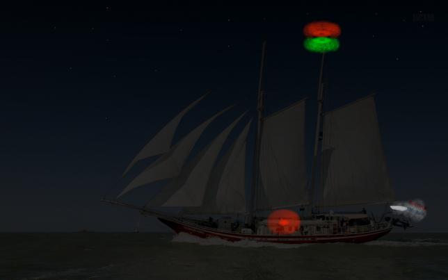 Zeilboot > 20m: twee rsl rood boven groen